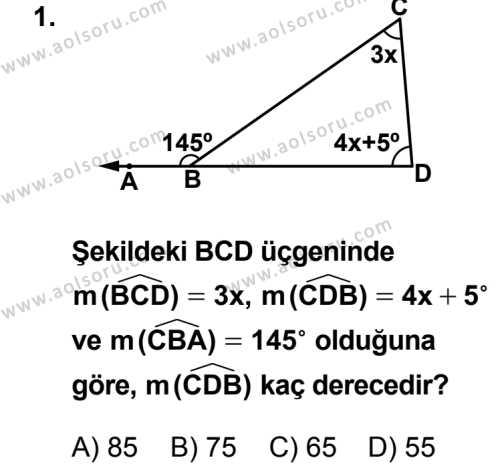 Geometri 4 Dersi 2014 - 2015 Yılı 1. Dönem Sınav Soruları 1. Soru