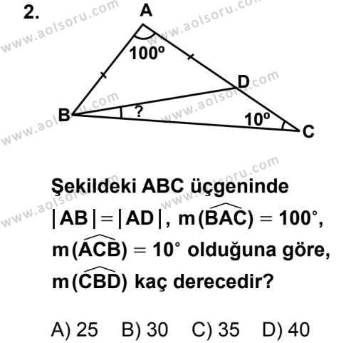 Geometri 4 Dersi 2014 - 2015 Yılı 1. Dönem Sınav Soruları 2. Soru