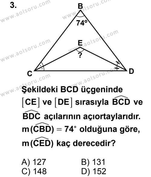 Geometri 4 Dersi 2014 - 2015 Yılı 1. Dönem Sınav Soruları 3. Soru