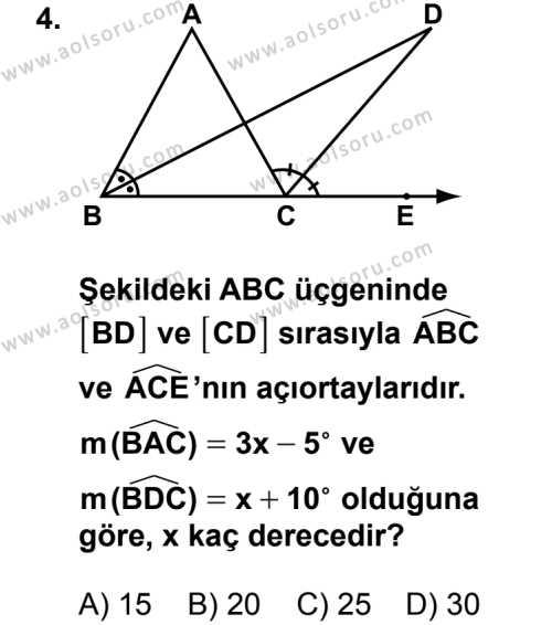 Geometri 4 Dersi 2014 - 2015 Yılı 1. Dönem Sınav Soruları 4. Soru