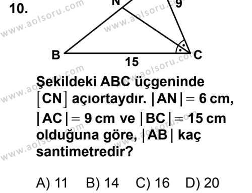 Geometri 4 Dersi 2014-2015 Yılı 1. Dönem Sınavı 10. Soru