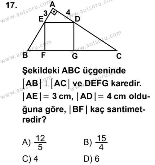 Geometri 4 Dersi 2014-2015 Yılı 1. Dönem Sınavı 17. Soru