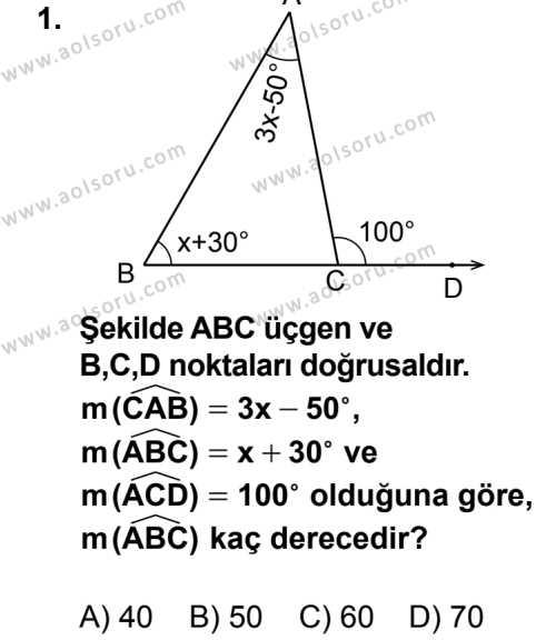 Geometri 4 Dersi 2014 - 2015 Yılı 2. Dönem Sınav Soruları 1. Soru