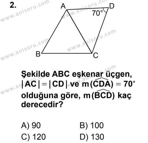 Geometri 4 Dersi 2014 - 2015 Yılı 2. Dönem Sınav Soruları 2. Soru