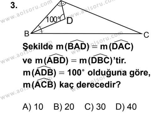 Geometri 4 Dersi 2014 - 2015 Yılı 2. Dönem Sınav Soruları 3. Soru