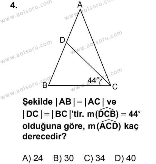 Geometri 4 Dersi 2014 - 2015 Yılı 2. Dönem Sınav Soruları 4. Soru