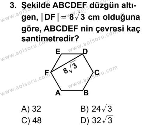Geometri 5 Dersi 2011-2012 Yılı 1. Dönem Sınavı 3. Soru