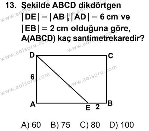 Geometri 5 Dersi 2011-2012 Yılı 1. Dönem Sınavı 13. Soru