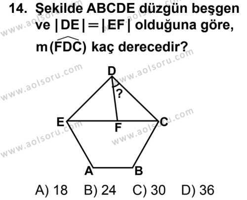 Geometri 5 Dersi 2011-2012 Yılı 1. Dönem Sınavı 14. Soru