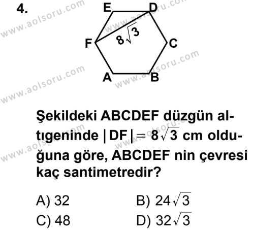 Geometri 5 Dersi 2011 - 2012 Yılı Ek Sınav Soruları 4. Soru