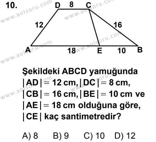 Geometri 5 Dersi 2012-2013 Yılı 1. Dönem Sınavı 10. Soru