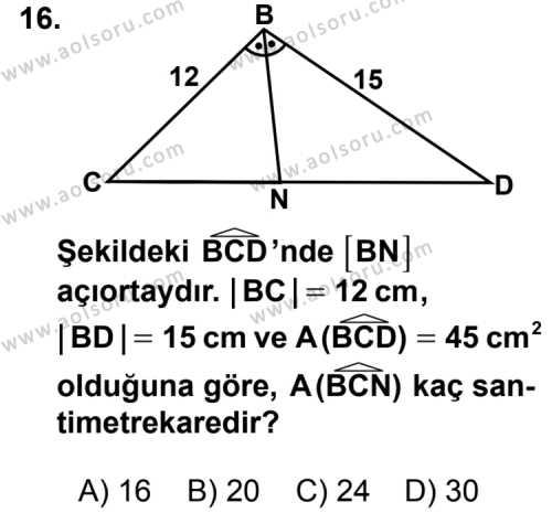 Geometri 5 Dersi 2012-2013 Yılı 1. Dönem Sınavı 16. Soru