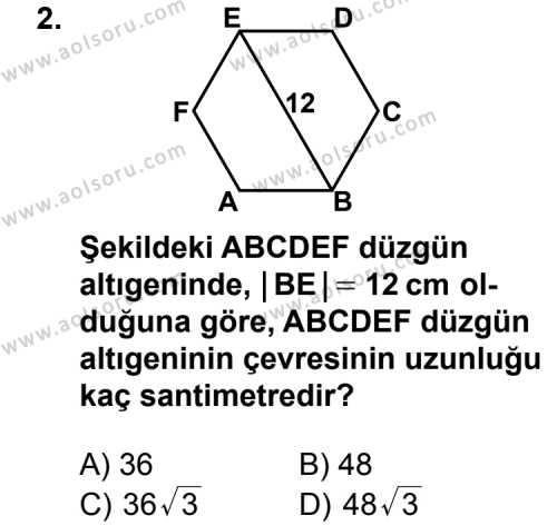 Geometri 5 Dersi 2013 - 2014 Yılı 1. Dönem Sınav Soruları 2. Soru