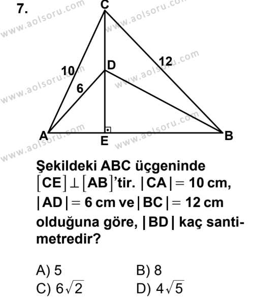 Geometri 5 Dersi 2013-2014 Yılı 1. Dönem Sınavı 7. Soru