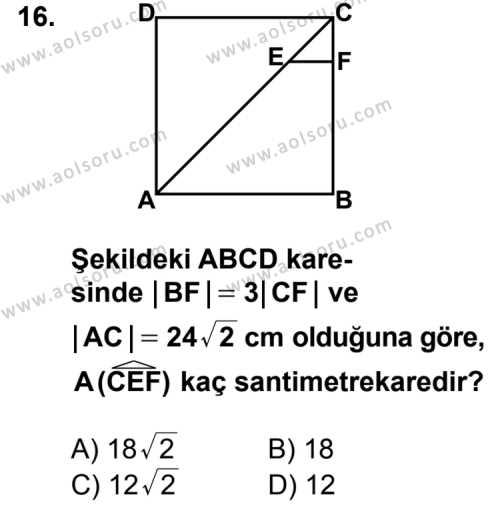 Geometri 5 Dersi 2013-2014 Yılı 1. Dönem Sınavı 16. Soru