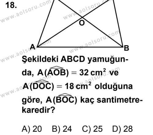 Geometri 5 Dersi 2013-2014 Yılı 1. Dönem Sınavı 18. Soru
