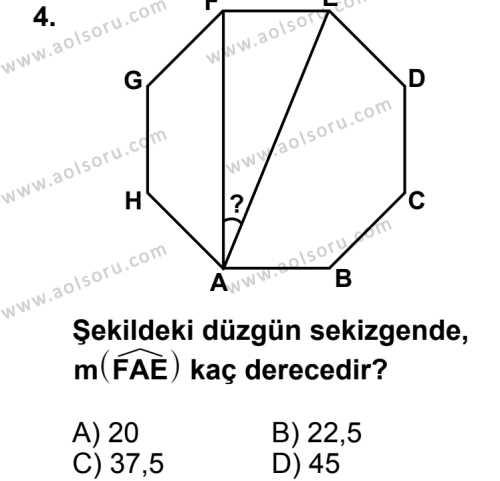 Geometri 5 Dersi 2013 - 2014 Yılı 2. Dönem Sınav Soruları 4. Soru