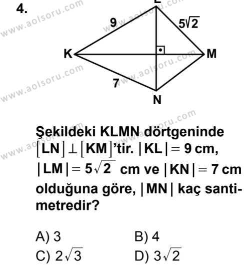 Geometri 5 Dersi 2014-2015 Yılı 1. Dönem Sınavı 4. Soru