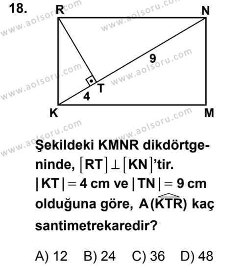 Geometri 5 Dersi 2014-2015 Yılı 1. Dönem Sınavı 18. Soru