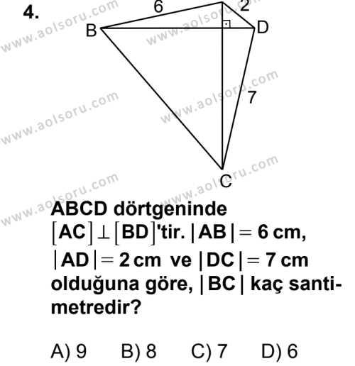 Geometri 5 Dersi 2014 - 2015 Yılı 2. Dönem Sınav Soruları 4. Soru