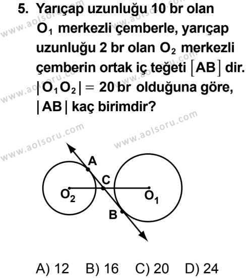 Geometri 6 Dersi 2011-2012 Yılı 1. Dönem Sınavı 5. Soru
