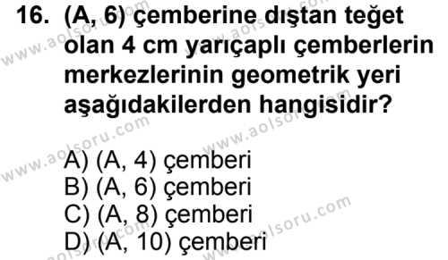 Geometri 6 Dersi 2011-2012 Yılı 1. Dönem Sınavı 16. Soru