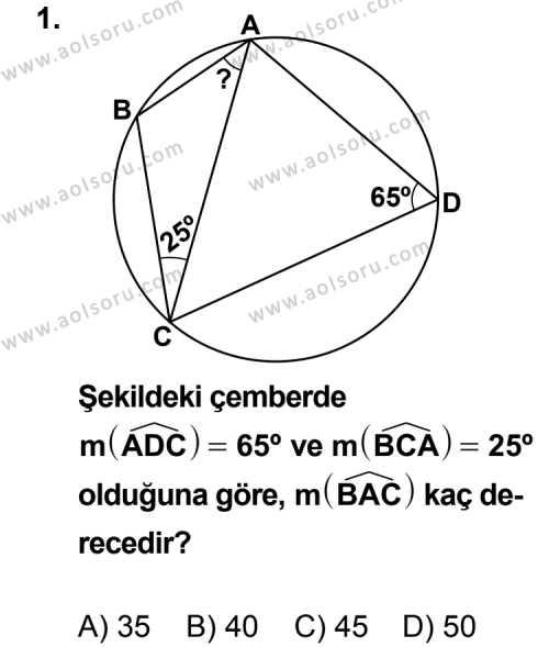 Geometri 6 Dersi 2011 - 2012 Yılı Ek Sınav Soruları 1. Soru