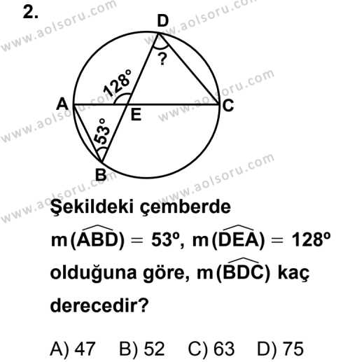 Geometri 6 Dersi 2011 - 2012 Yılı Ek Sınav Soruları 2. Soru
