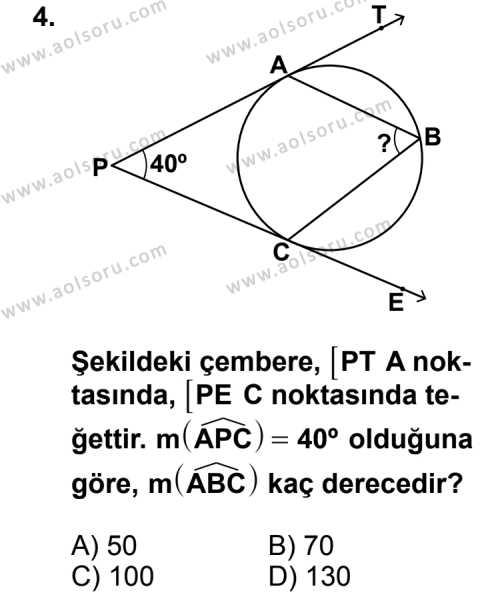 Geometri 6 Dersi 2011 - 2012 Yılı Ek Sınav Soruları 4. Soru
