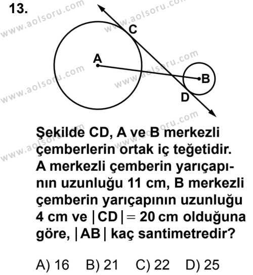 Geometri 6 Dersi 2012-2013 Yılı 1. Dönem Sınavı 13. Soru
