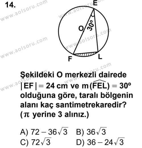 Geometri 6 Dersi 2012-2013 Yılı 1. Dönem Sınavı 14. Soru