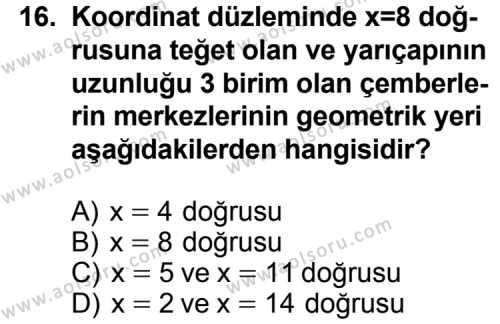 Geometri 6 Dersi 2012-2013 Yılı 1. Dönem Sınavı 16. Soru