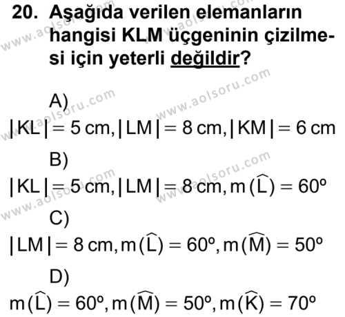 Geometri 6 Dersi 2012-2013 Yılı 1. Dönem Sınavı 20. Soru