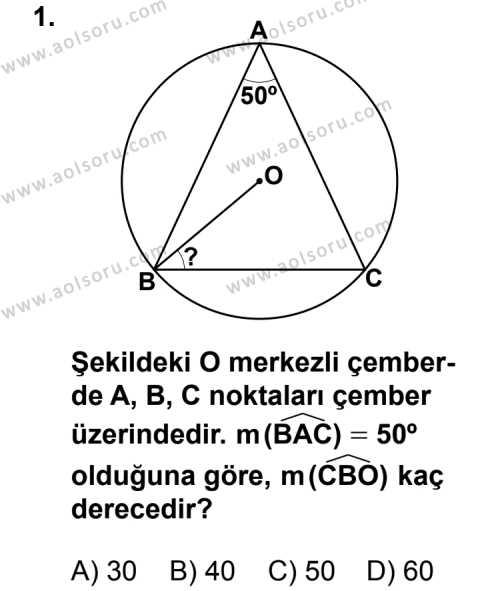 Geometri 6 Dersi 2012 - 2013 Yılı 3. Dönem Sınav Soruları 1. Soru