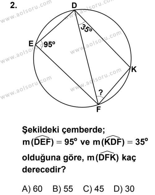 Geometri 6 Dersi 2012 - 2013 Yılı 3. Dönem Sınav Soruları 2. Soru