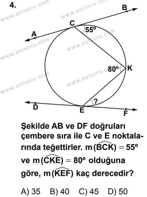 Geometri 6 Dersi 2012 - 2013 Yılı 3. Dönem Sınav Soruları 4. Soru