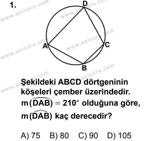 Geometri 6 Dersi 2013 - 2014 Yılı 1. Dönem Sınavı 1. Soru