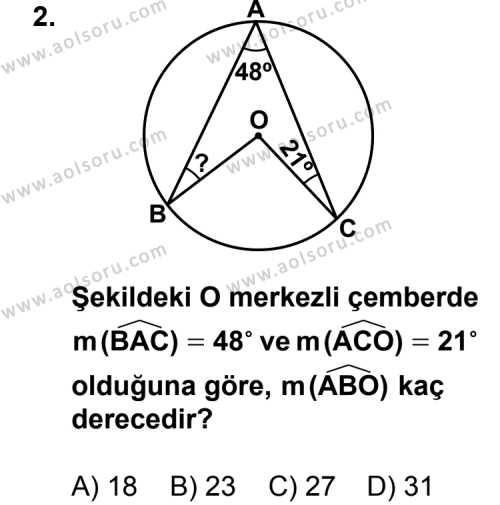 Geometri 6 Dersi 2013 - 2014 Yılı 1. Dönem Sınav Soruları 2. Soru