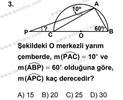 Geometri 6 Dersi 2013 - 2014 Yılı 1. Dönem Sınavı 3. Soru