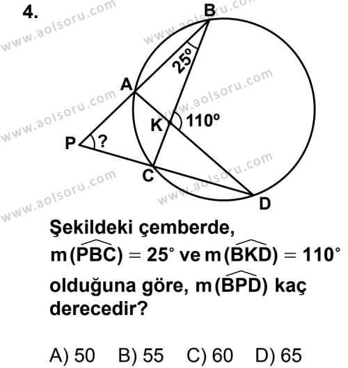Geometri 6 Dersi 2013-2014 Yılı 1. Dönem Sınavı 4. Soru