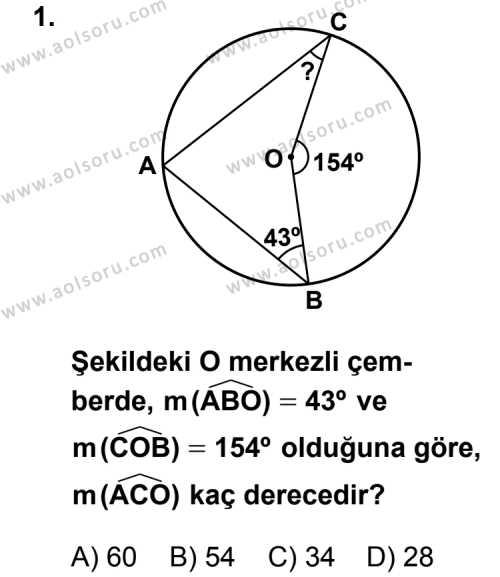 Geometri 6 Dersi 2013 - 2014 Yılı 2. Dönem Sınav Soruları 1. Soru