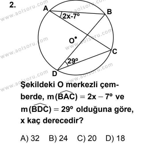 Geometri 6 Dersi 2013 - 2014 Yılı 2. Dönem Sınav Soruları 2. Soru