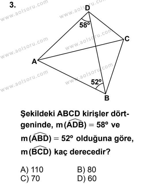 Geometri 6 Dersi 2013 - 2014 Yılı 2. Dönem Sınav Soruları 3. Soru