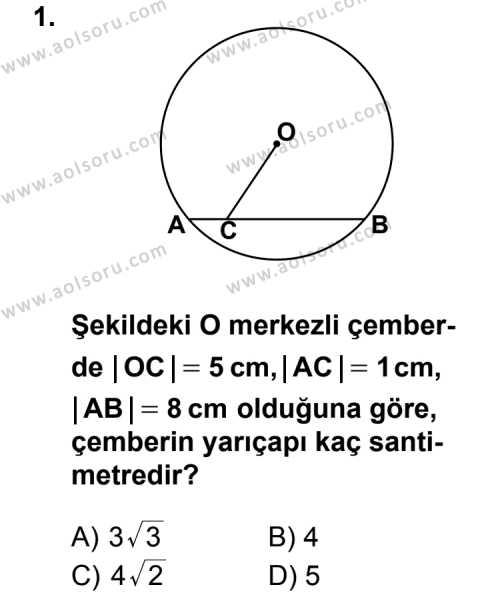 Geometri 6 Dersi 2013 - 2014 Yılı 3. Dönem Sınav Soruları 1. Soru