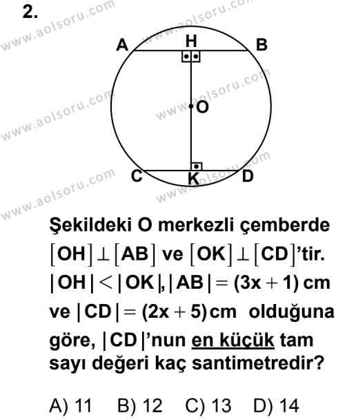 Geometri 6 Dersi 2013 - 2014 Yılı 3. Dönem Sınav Soruları 2. Soru