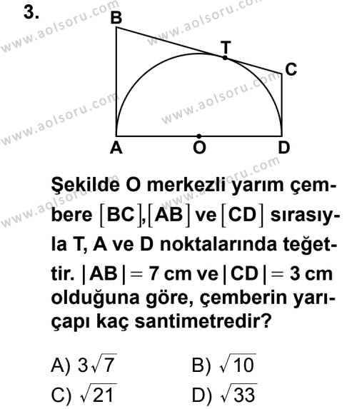 Geometri 6 Dersi 2013 - 2014 Yılı 3. Dönem Sınav Soruları 3. Soru