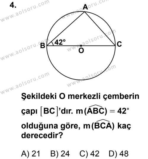 Geometri 6 Dersi 2013 - 2014 Yılı 3. Dönem Sınav Soruları 4. Soru