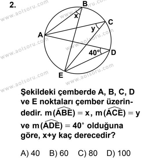 Geometri 6 Dersi 2014 - 2015 Yılı 1. Dönem Sınav Soruları 2. Soru