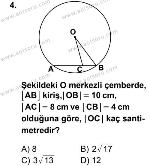 Geometri 6 Dersi 2014 - 2015 Yılı 1. Dönem Sınav Soruları 4. Soru