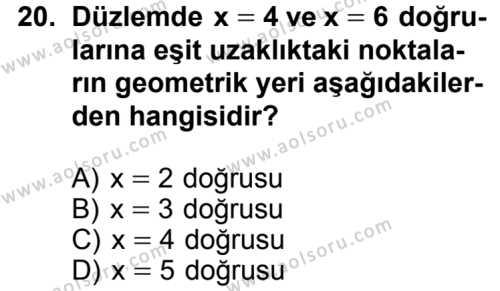 Geometri 6 Dersi 2014-2015 Yılı 1. Dönem Sınavı 20. Soru